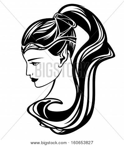 elf girl black and white vector illustration - beautiful woman profile portrait
