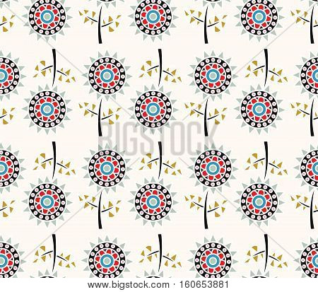 Vector decorative sunflowers seamless pattern. Floral ornament wallpaper. Colorful doodle flower background.