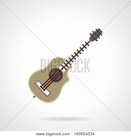 Kinds of stringed musical instruments. Classic acoustic six-string guitar. Good present for musician. Music hobby. Flat color style vector icon.