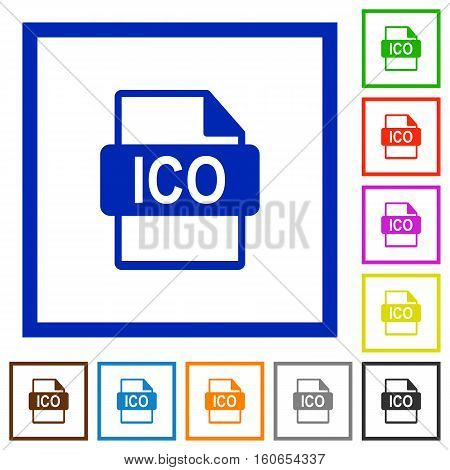 ICO file format flat color icons in square frames
