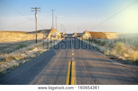 Endless Rural road country side sunset California