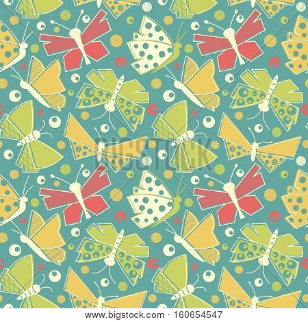 Vector flying butterflies seamless pattern in vintage style textile. Old-fashioned drawing insect doodle wallpaper.