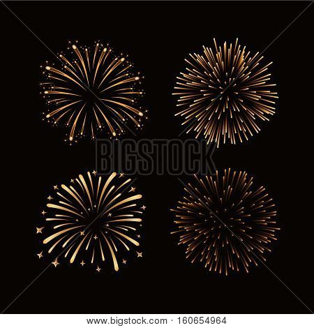 Firework Gold Isolated Set