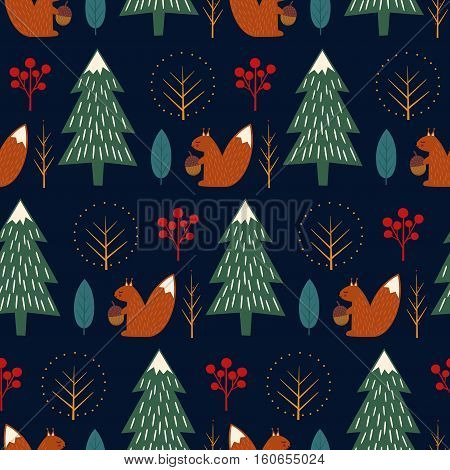 Squirrel in forest seamless pattern on dark blue background. Christmas scandinavian style nature illustration. Cute winter forest with animal design for textile, wallpaper, fabric.