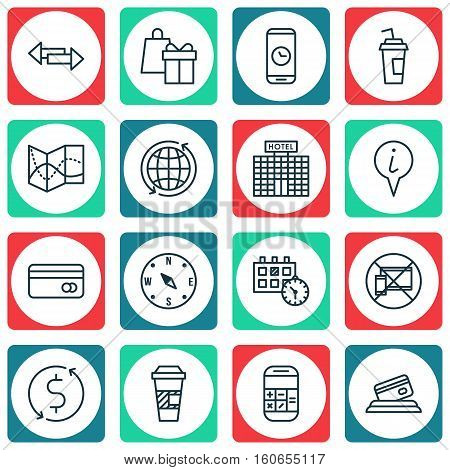 Set Of Transportation Icons On Info Pointer, Road Map And Plastic Card Topics. Editable Vector Illustration. Includes Travel, Info, Around And More Vector Icons.