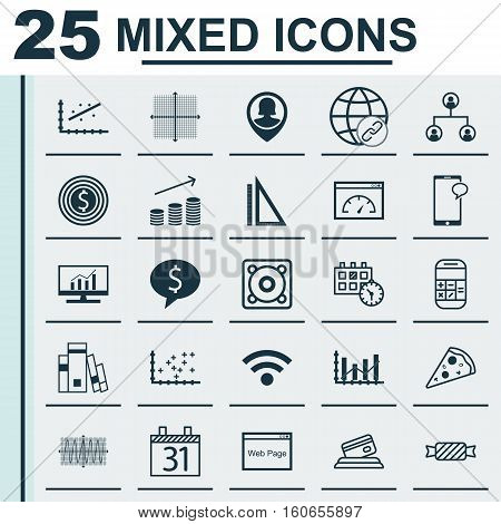 Set Of 25 Universal Editable Icons. Can Be Used For Web, Mobile And App Design. Includes Icons Such As Graphical Grid, Plot Diagram, Raise Diagram And More.