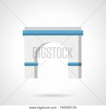 Classic antique round arch portal with columns. Architecture decoration elements in construction, for building exterior, outdoor objects. Flat color style vector icon.
