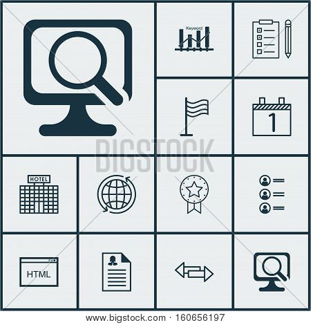 Set Of 12 Universal Editable Icons. Can Be Used For Web, Mobile And App Design. Includes Icons Such As Keyword Optimisation, Job Applicants, Pin And More.