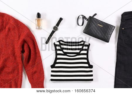 Modern clothes on bed