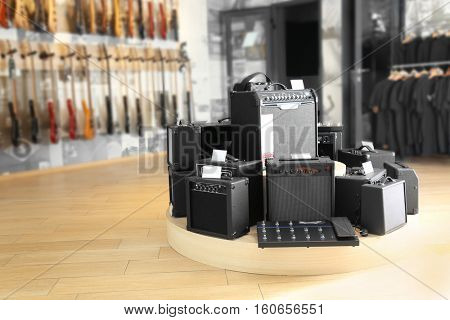 Amplifiers in music shop