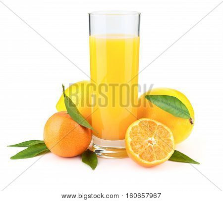 Fresh juice in the glass mandarin and lemon fruits isolated on white background