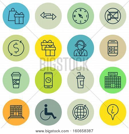 Set Of Traveling Icons On Drink Cup, Operator And Call Duration Topics. Editable Vector Illustration. Includes Box, Compass, Dollar And More Vector Icons.