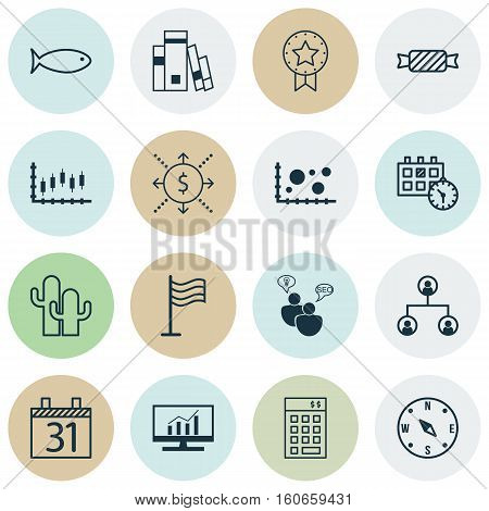 Set Of 16 Universal Editable Icons. Can Be Used For Web, Mobile And App Design. Includes Icons Such As Comparison, Stock Market, Locate And More.