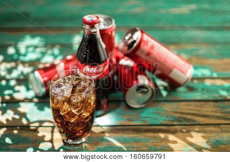 Glass Of Cola On Blurred Background