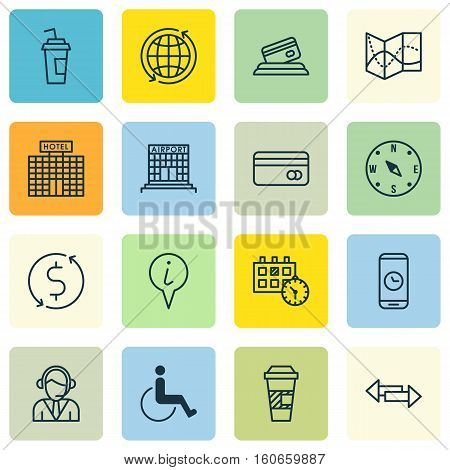 Set Of Airport Icons On Operator, Crossroad And Appointment Topics. Editable Vector Illustration. Includes Coffee, Takeaway, Paralyzed And More Vector Icons.