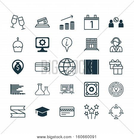 Set Of 25 Universal Editable Icons. Can Be Used For Web, Mobile And App Design. Includes Icons Such As Present, Birthday Cake, Blank Ribbon And More.