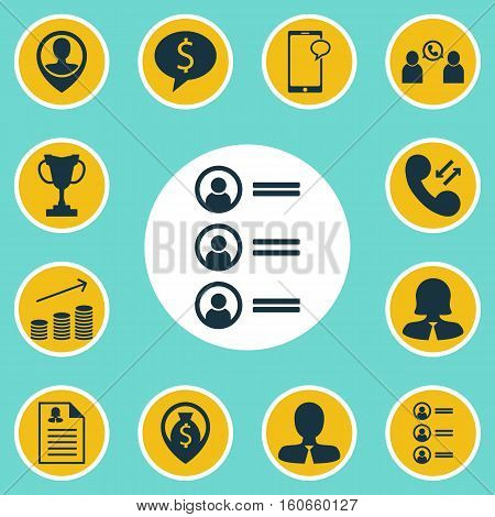 Set Of Human Resources Icons On Coins Growth, Phone Conference And Business Deal Topics. Editable Vector Illustration. Includes Chat, Trophy, Call And More Vector Icons.