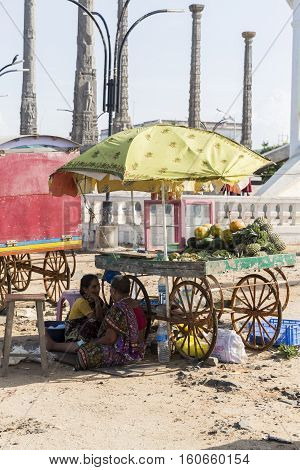 Illustrative image. Pondicgery Tamil Nadu India - Marsh 03 2014. Shop of fruits and vegetables itinerant trade small merchant