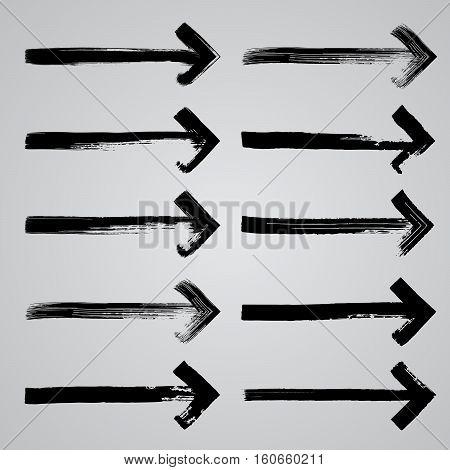 Set of grunge hand drawn brushstrokes arrows on white background vector illustration. Hand drawn brush stroke