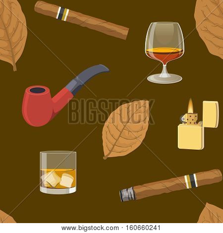 Smoking seamless pattern with dry tobacco leaf pipe cigars alcoholic drink lighter on brown background vector illustration