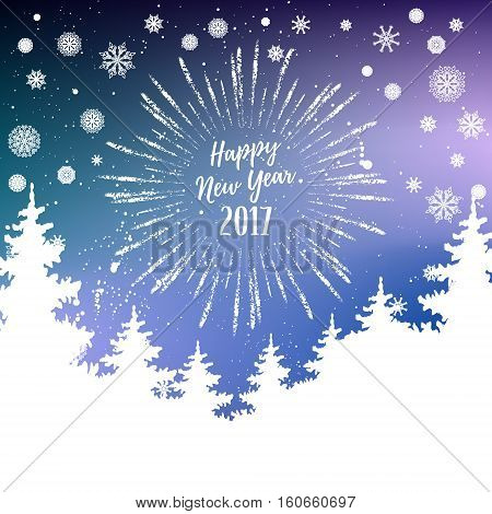 Happy New Year 2017 Greeting Card. Vector Winter Holiday Shine Blurred Background With Starburst, Ha