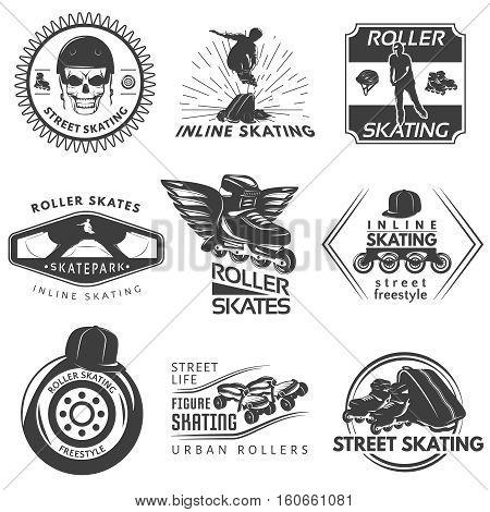 Roller skating black white labels with sportman helmet frame wheel cap skull rays wings isolated vector illustration