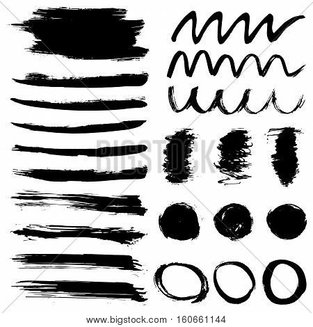 Set of artistic brushstrokes, paint splashes and ink spots. Abstract ink grunge set for design.