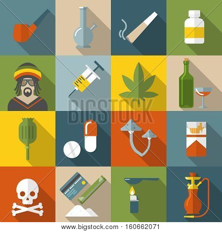Flat drugs icon set in colored square with types of narcotic drugs and damage to they generate vector illustration