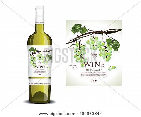 Mockup conceptual white label for white wine