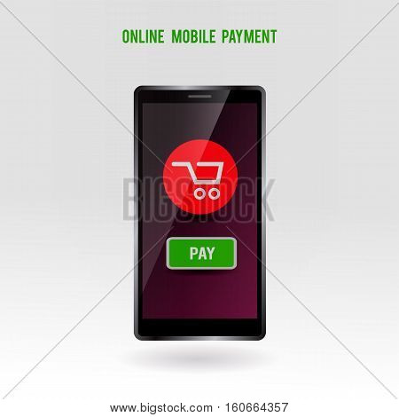 Mobile online payment service. Modern phone technology buying over internet concept. Purchase symbol on smartphone screen. Vector illustration.