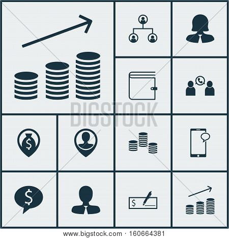 Set Of Human Resources Icons On Messaging, Wallet And Phone Conference Topics. Editable Vector Illustration. Includes Wallet, Call, Structure And More Vector Icons.