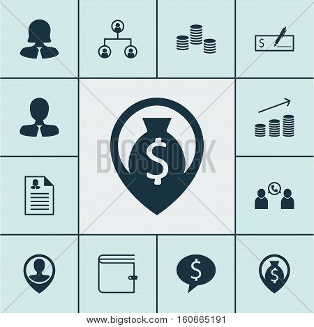 Set Of Hr Icons On Business Woman, Wallet And Money Topics. Editable Vector Illustration. Includes Check, Conference, Dollar And More Vector Icons.
