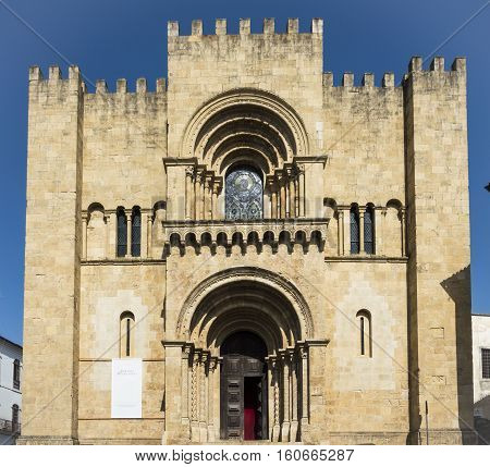 Old Cathedral of Coimbra one of most important romanic building in Portugal.