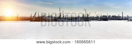 St. Petersburg. Seaport. Russia.View from the Gulf of Finland covered with ice. Panorama.