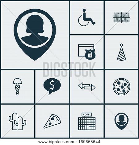 Set Of 12 Universal Editable Icons. Can Be Used For Web, Mobile And App Design. Includes Icons Such As Crossroad, Sliced Pizza, Business Deal And More.