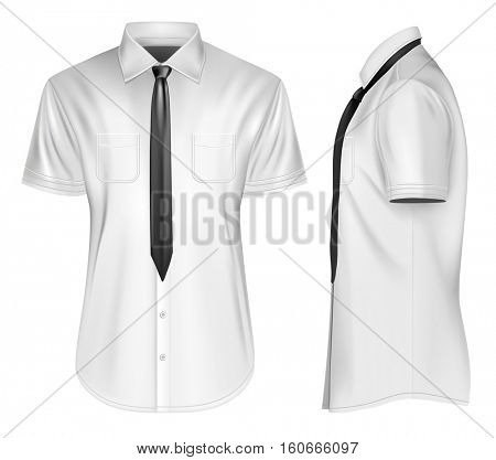 Men's short sleeved formal button down shirts front and side views  with  neckties. Fully editable handmade mesh, Vector illustration.