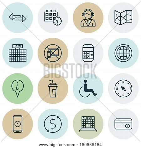 Set Of Traveling Icons On Drink Cup, Crossroad And Appointment Topics. Editable Vector Illustration. Includes Cup, Math, Time And More Vector Icons.