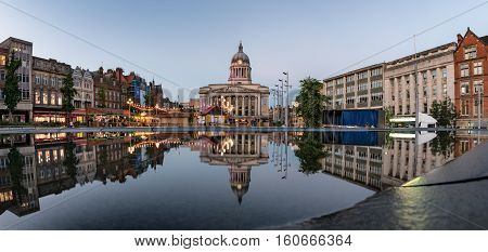 The Council House seen from across The Old Market Square Nottingham England UK