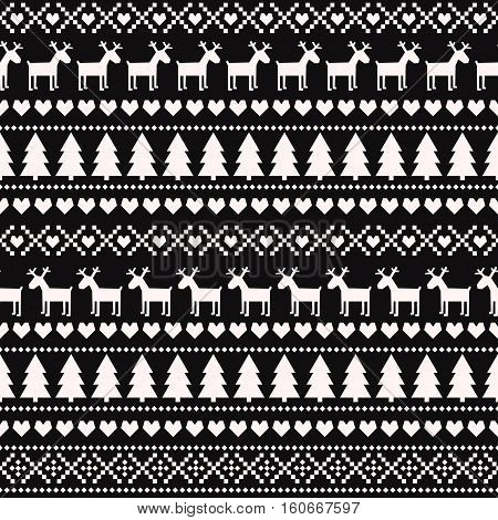 Christmas seamless pattern on black background. Scandinavian sweater style. Cute Christmas background - Xmas trees, deers, hearts and snowflakes. Design for textile, wallpaper, web, fabric, decor etc.
