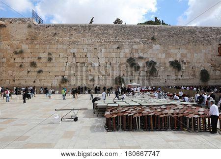 Jerusalem, Israel - November 2 , 2016: The Western Wall in Jerusalem. Israel