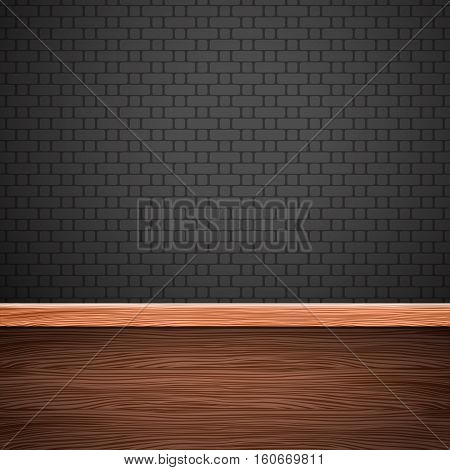 Empty wooden table and brick wall . Vector background .