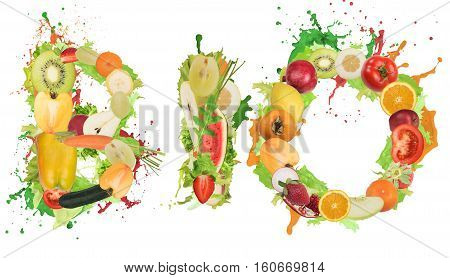 Fruit and vegetables forming the word bio with splashes of color. Healthy Bio food for wellness concept