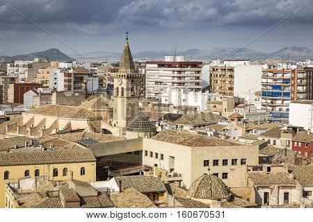 a view over Villena city, Province of Alicante, Spain