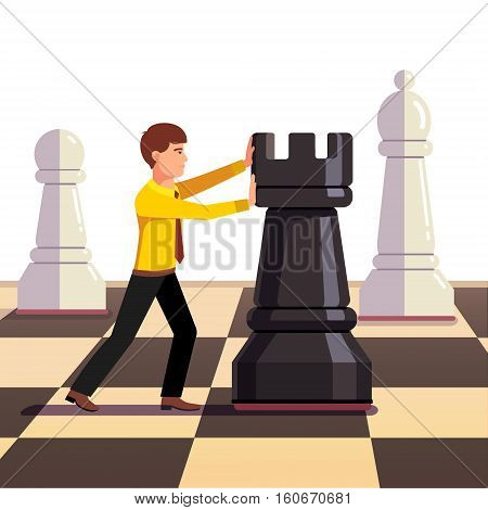 Businessman making his move on a business chessboard. Flat style vector illustration.