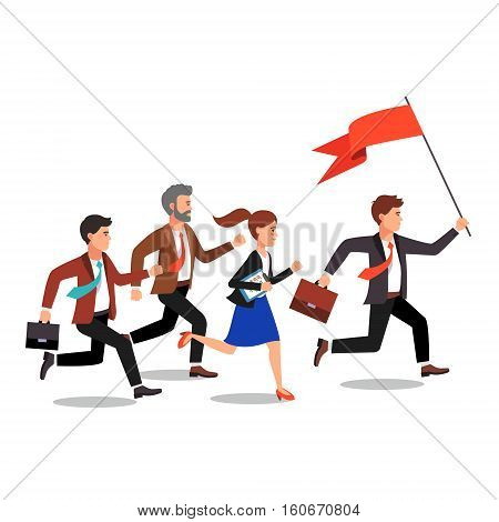 Business leader holding big flag and leading the way to his fellow colleagues businessman people. Flat style vector illustration.