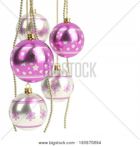 glossy pink christmas bulbs isolated on white background - 3D render