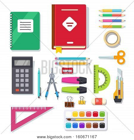 School student and office stationary supplies kit. Flat style vector illustration.