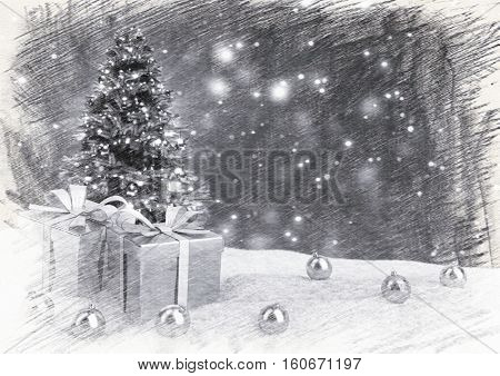 Christmas tree and gifts in snow on bokeh retro background - 3D illustration