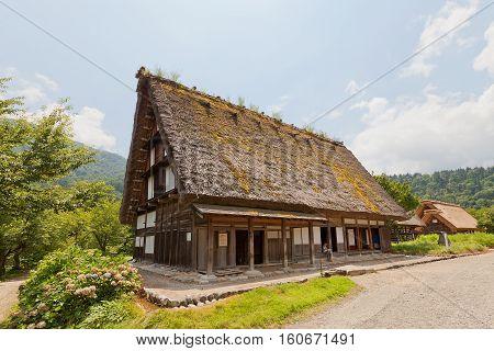 OGIMACI JAPAN - AUGUST 01 2016: Former Nakano Youshimori House (moved from Kazura circa 1909) in Ogimachi gassho style village of Shirakawa-go district. World Heritage Site of UNESCO