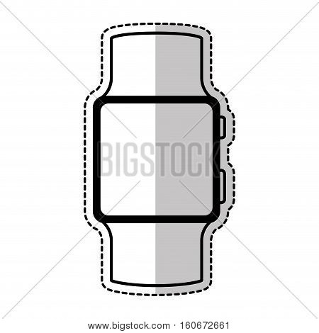 sticker of smart watch icon over white background. wearable technology devices design. vector illustration